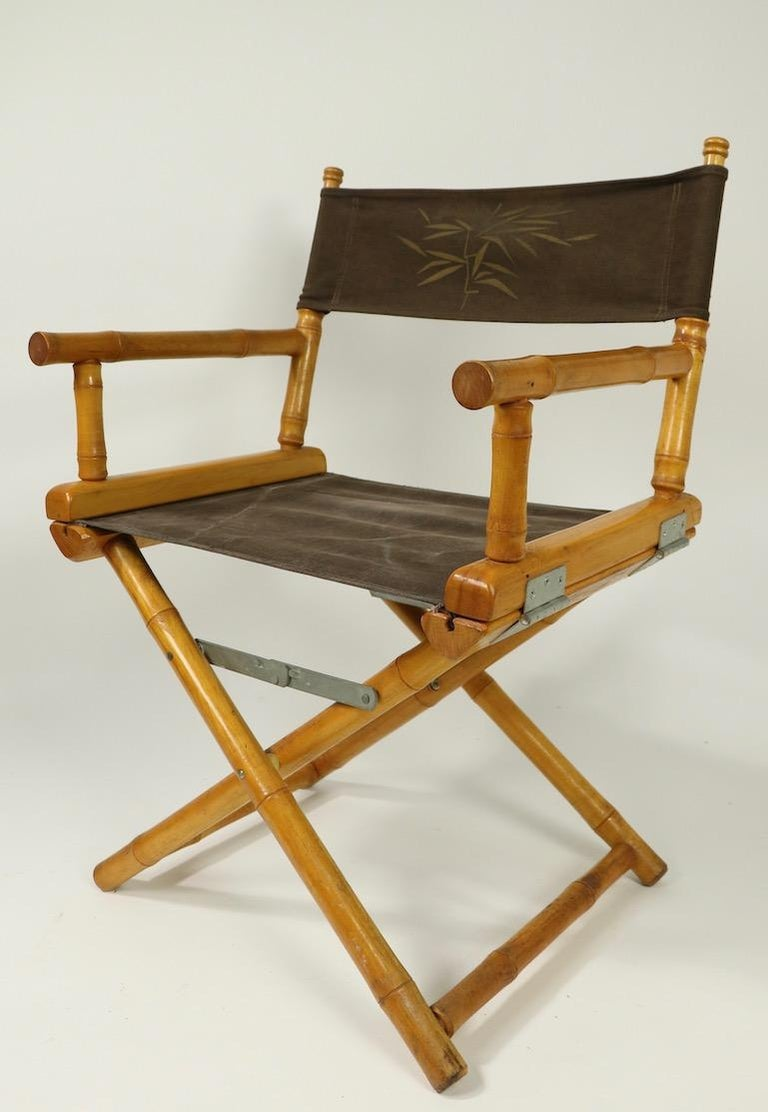 Campaign Faux Bamboo Directors Chair by Telescope Chair Company For Sale