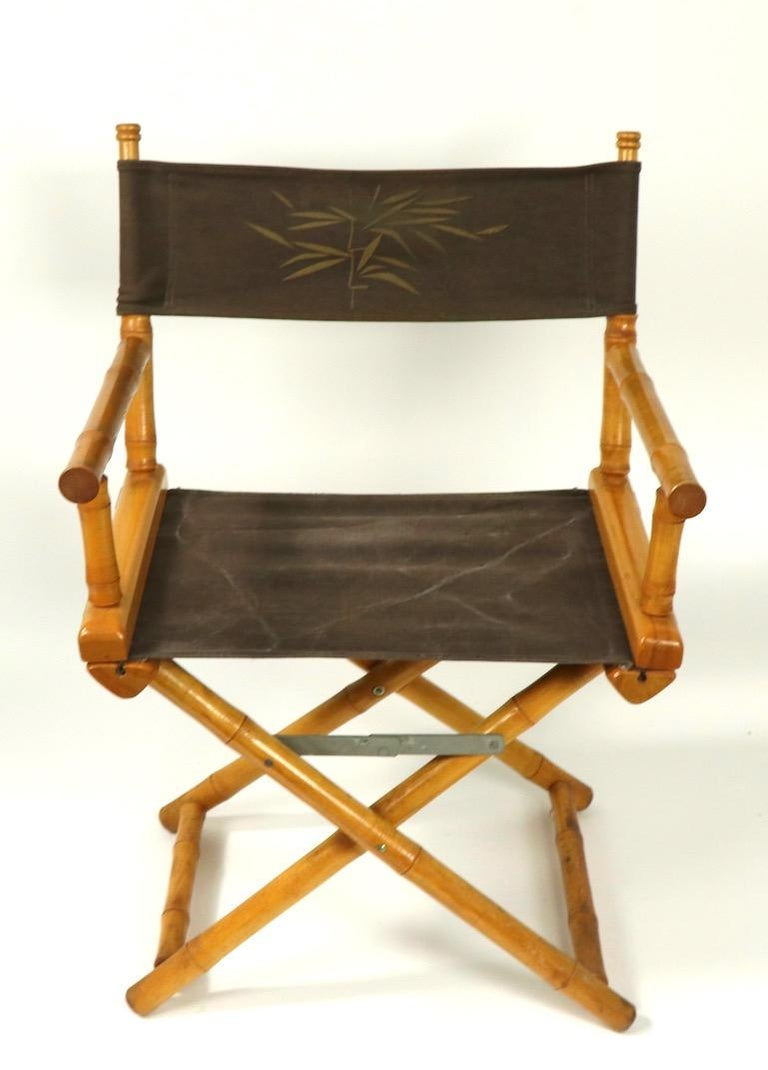 American Faux Bamboo Directors Chair by Telescope Chair Company For Sale