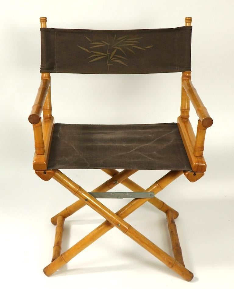 Faux Bamboo Directors Chair by Telescope Chair Company In Good Condition For Sale In New York, NY