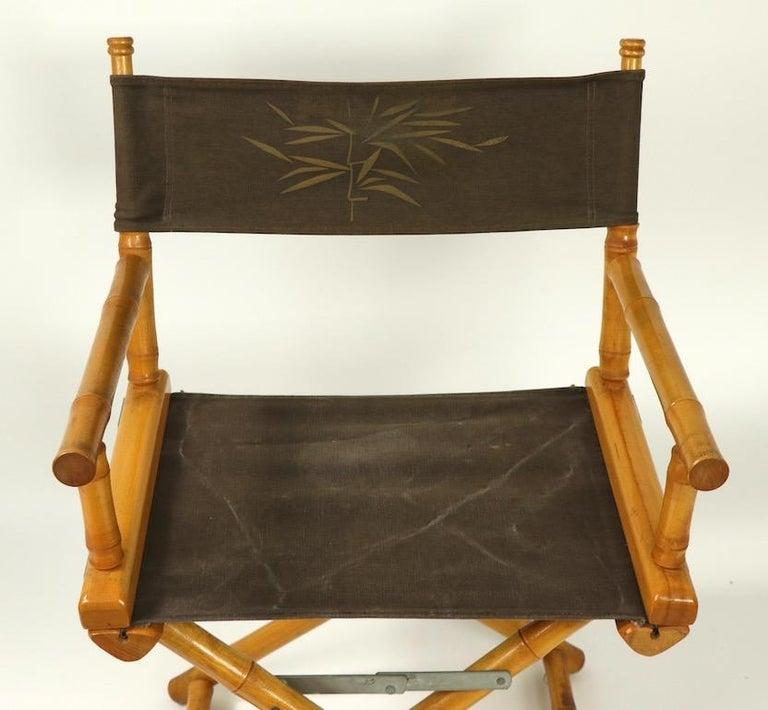 20th Century Faux Bamboo Directors Chair by Telescope Chair Company For Sale