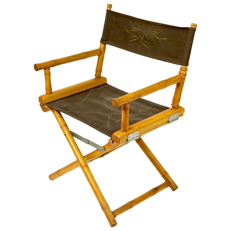 Faux Bamboo Directors Chair by Telescope Chair Company For Sale