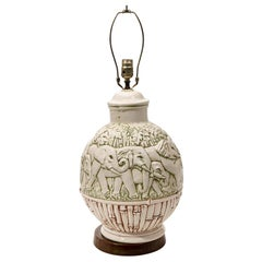 Faux Bamboo Elephant Table Lamp