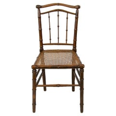 Faux Bamboo English Cane Seat Chair