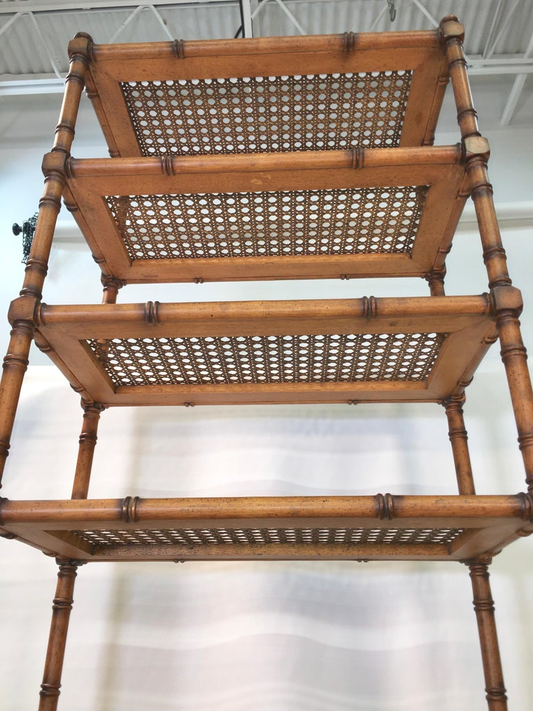 Faux Bamboo Étagère with Caned Shelves For Sale 5
