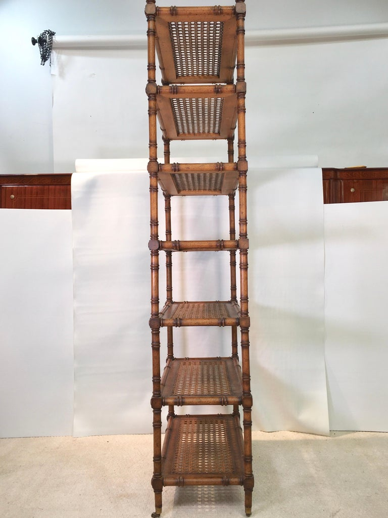 American Faux Bamboo Étagère with Caned Shelves For Sale