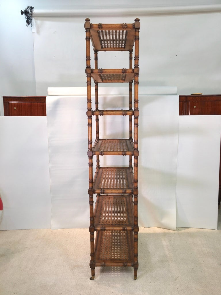 Woven Faux Bamboo Étagère with Caned Shelves For Sale
