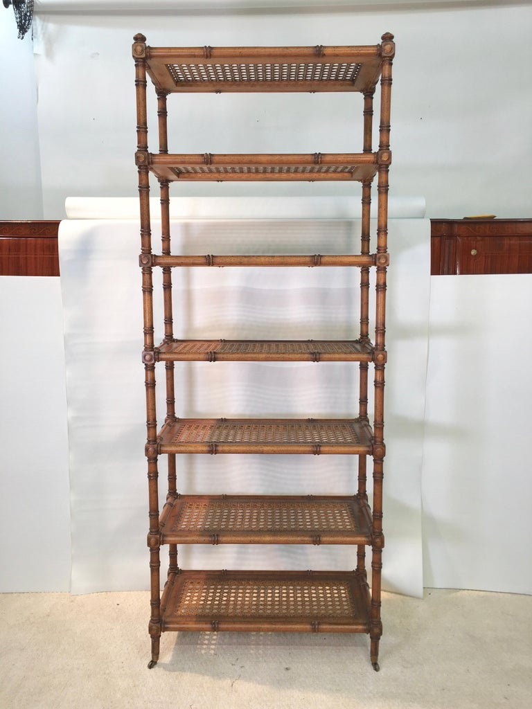 Faux Bamboo Étagère with Caned Shelves In Good Condition For Sale In Hingham, MA