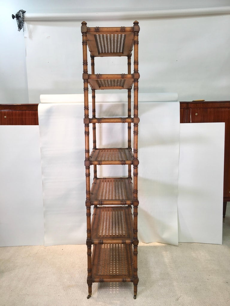 Late 20th Century Faux Bamboo Étagère with Caned Shelves For Sale
