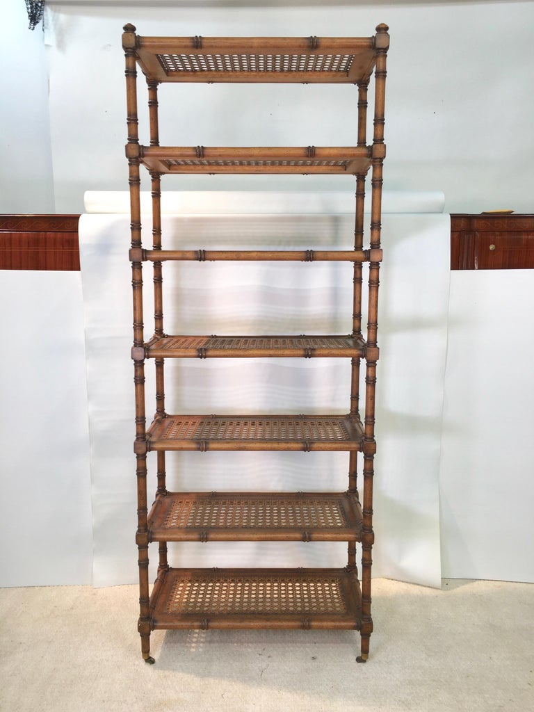 Faux Bamboo Étagère with Caned Shelves For Sale 1