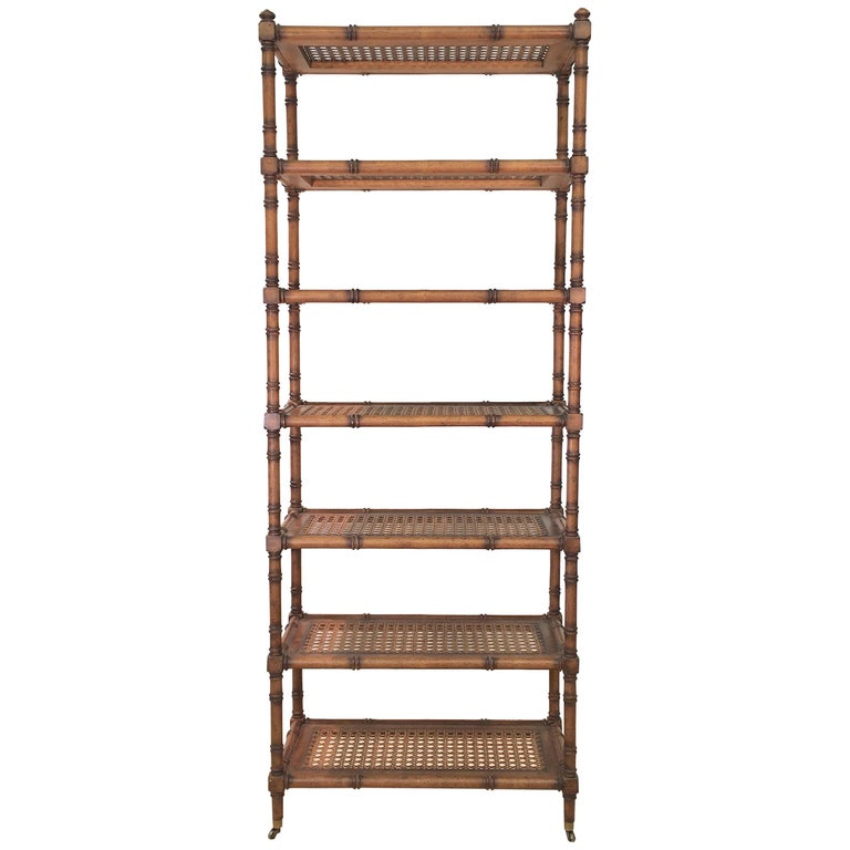 Faux Bamboo Étagère with Caned Shelves For Sale