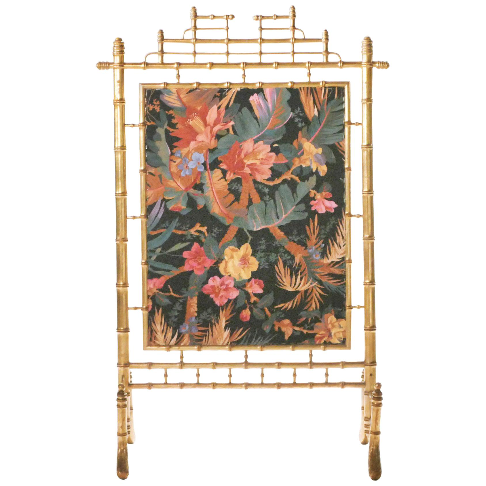 Faux Bamboo French Decorative Fire Screen, 1970s