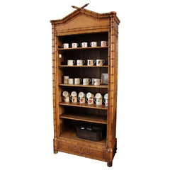 """faux-bamboo"" French, Napolean III, Wooden, Bookcase, in Brown, Storage Cabinet"