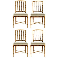 Faux Bamboo Game Table Chairs of Bleached Oak, Set of 4