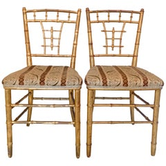 Faux Bamboo Gilded Chairs, Late 19th Century