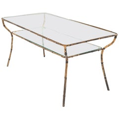 Faux Bamboo Gilt and Glass Coffee Table