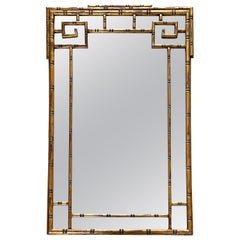 Faux Bamboo Gilt Greek Key Mirror, Attributed to La Barge