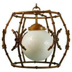 Faux Bamboo Gilt Metal Chandelier/Pendant with Glass Ball