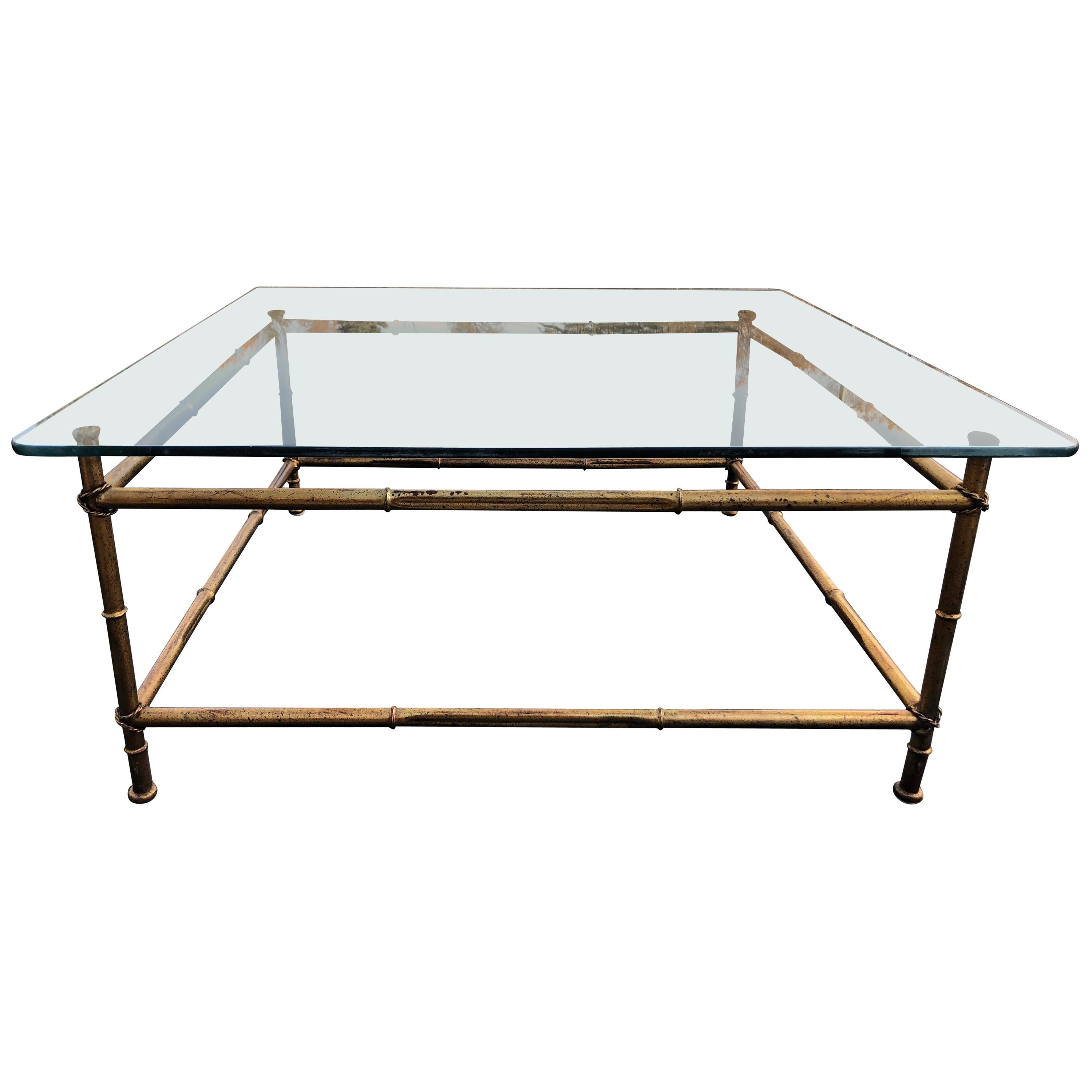 Faux Bamboo Glass and Gilt Metal Coffee Table