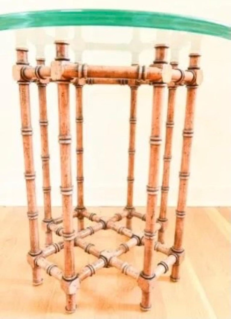 European Faux Bamboo Glass Top Side Table For Sale