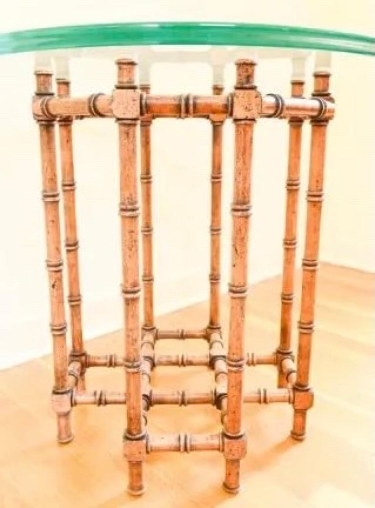 Faux Bamboo Glass Top Side Table In Good Condition For Sale In Great Barrington, MA