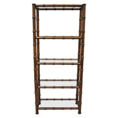 Faux Bamboo Hollywood Regency Chinese Chippendale Wood Glass Étagère Stand