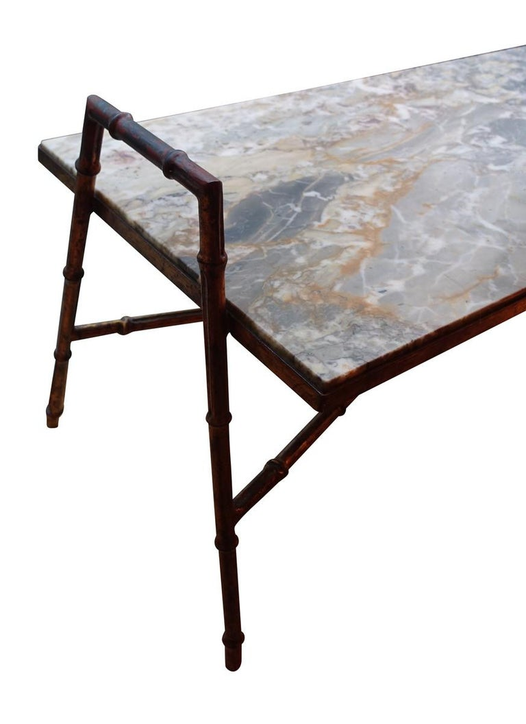 Midcentury French faux bamboo iron framed coffee table with marble top