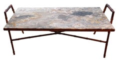 Faux Bamboo Iron Coffee Table, France, Mid Century