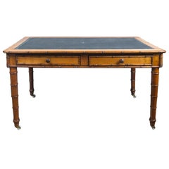 Faux Bamboo Leather Topped Writing Table