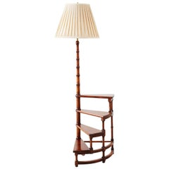 Faux Bamboo Library Step Display Lamp Table