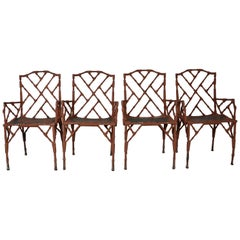 Faux-Bamboo Metal Chairs
