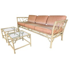 Faux Bamboo Metal Chinoiserie Patio Sofa and Tables