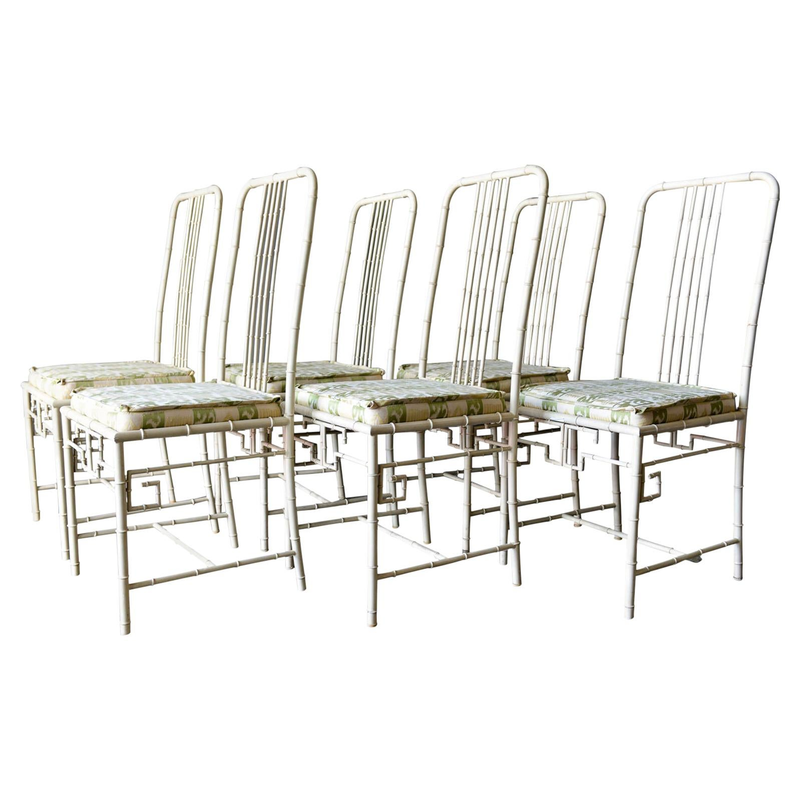 Faux Bamboo Metal Dining Chairs, ca. 1970