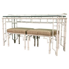 Faux Bamboo Metal Fretwork Console Table and Matching Stools