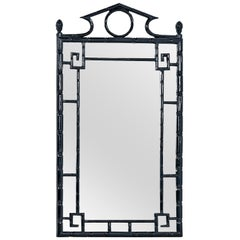 Faux Bamboo Midcentury Asian Modern Black Lacquer Mirror