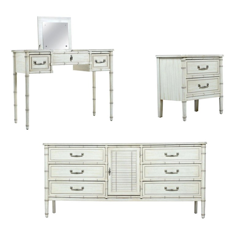 Faux Bamboo Midcentury Factory White Washed Bedroom Set with Vanity