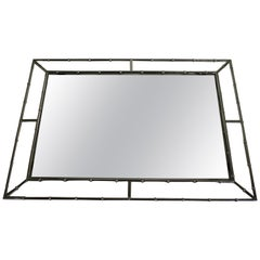 Faux Bamboo Mirror in Chrome, France, 1960s