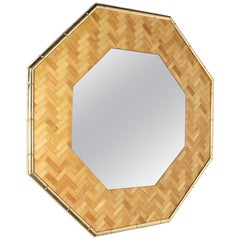 Faux Bamboo Mirror with Brass Detail, circa 1950
