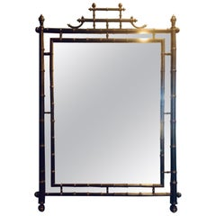 Faux Bamboo Mirror with Pagoda Top