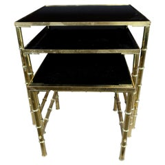 Gold Faux Bamboo Nesting Tables with Amethyst Glass