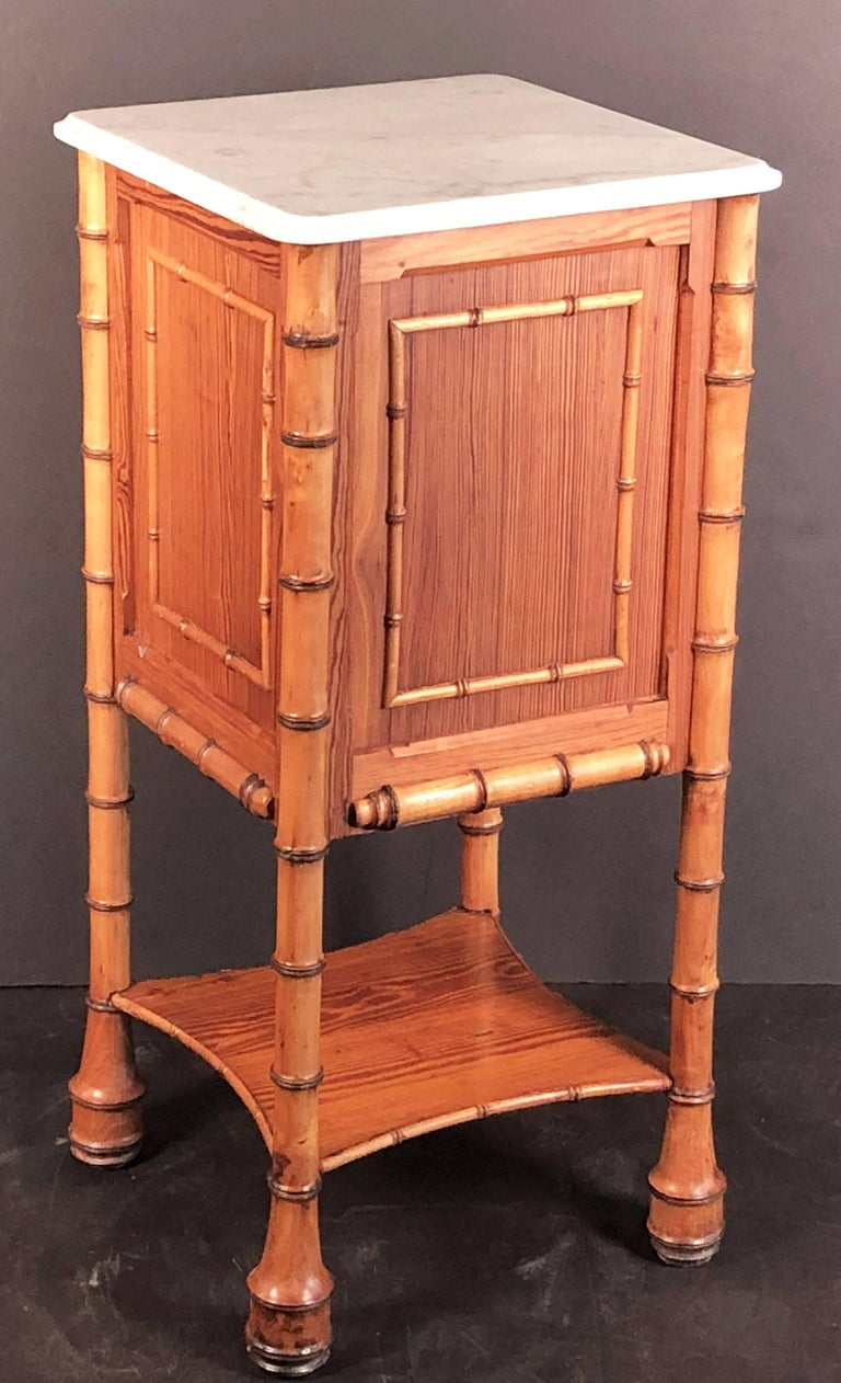 Faux Bamboo Nightstand or Bedside Table For Sale 4