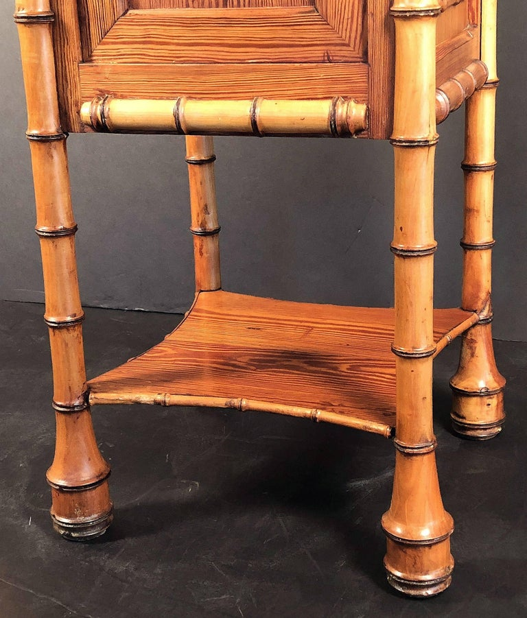 Faux Bamboo Nightstand or Bedside Table For Sale 5