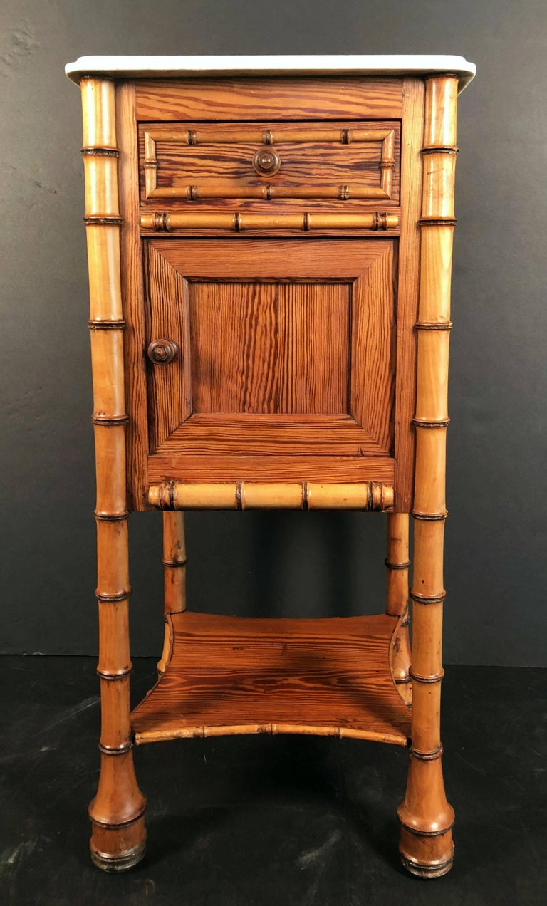 French Faux Bamboo Nightstand or Bedside Table For Sale