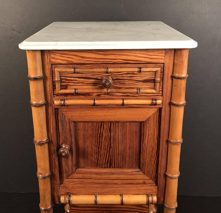 Faux Bamboo Nightstand or Bedside Table In Good Condition For Sale In Austin, TX