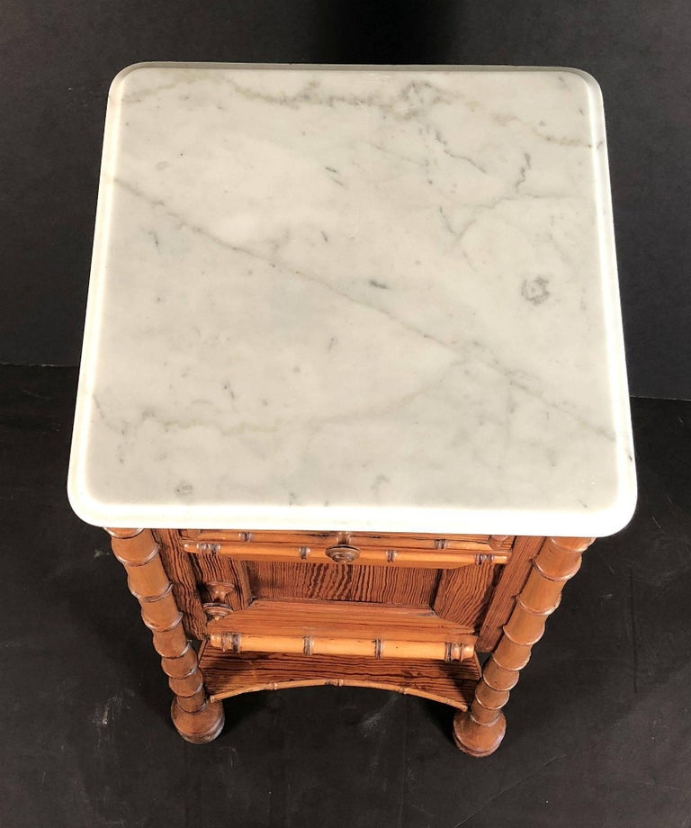 19th Century Faux Bamboo Nightstand or Bedside Table For Sale