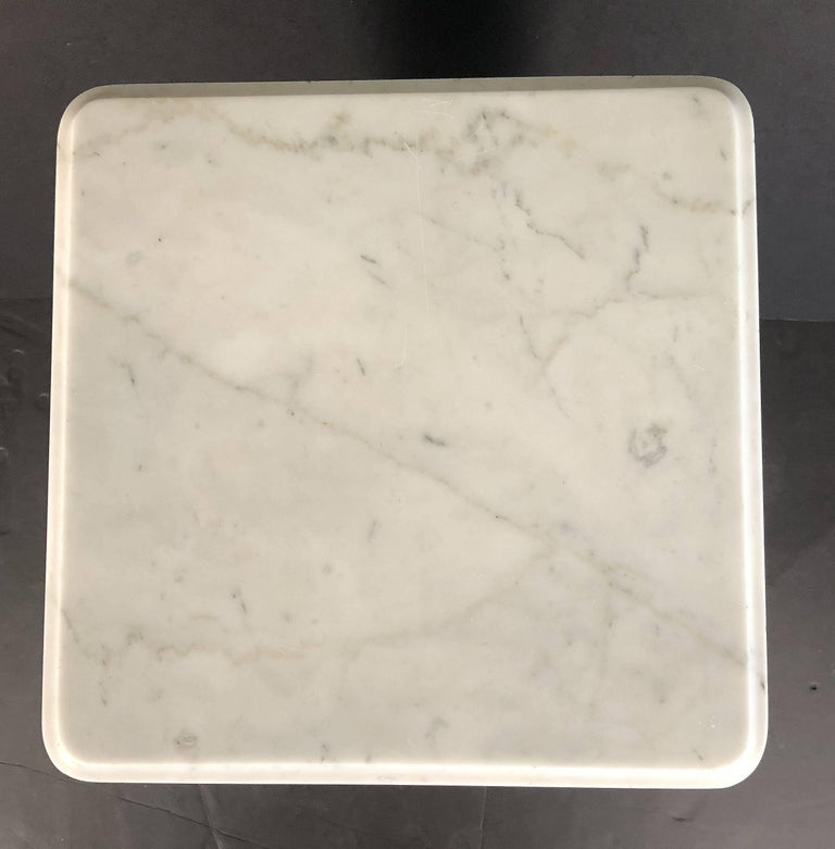 Marble Faux Bamboo Nightstand or Bedside Table For Sale