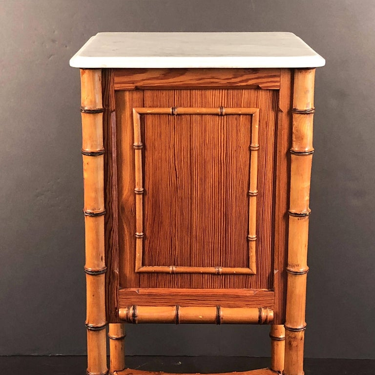 Faux Bamboo Nightstand or Bedside Table For Sale 1