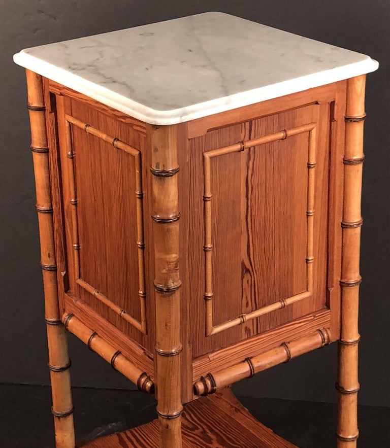 Faux Bamboo Nightstand or Bedside Table For Sale 2