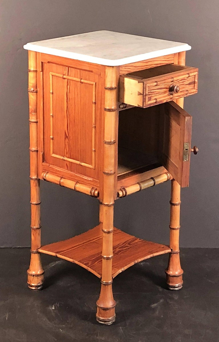 Faux Bamboo Nightstand or Bedside Table For Sale 3