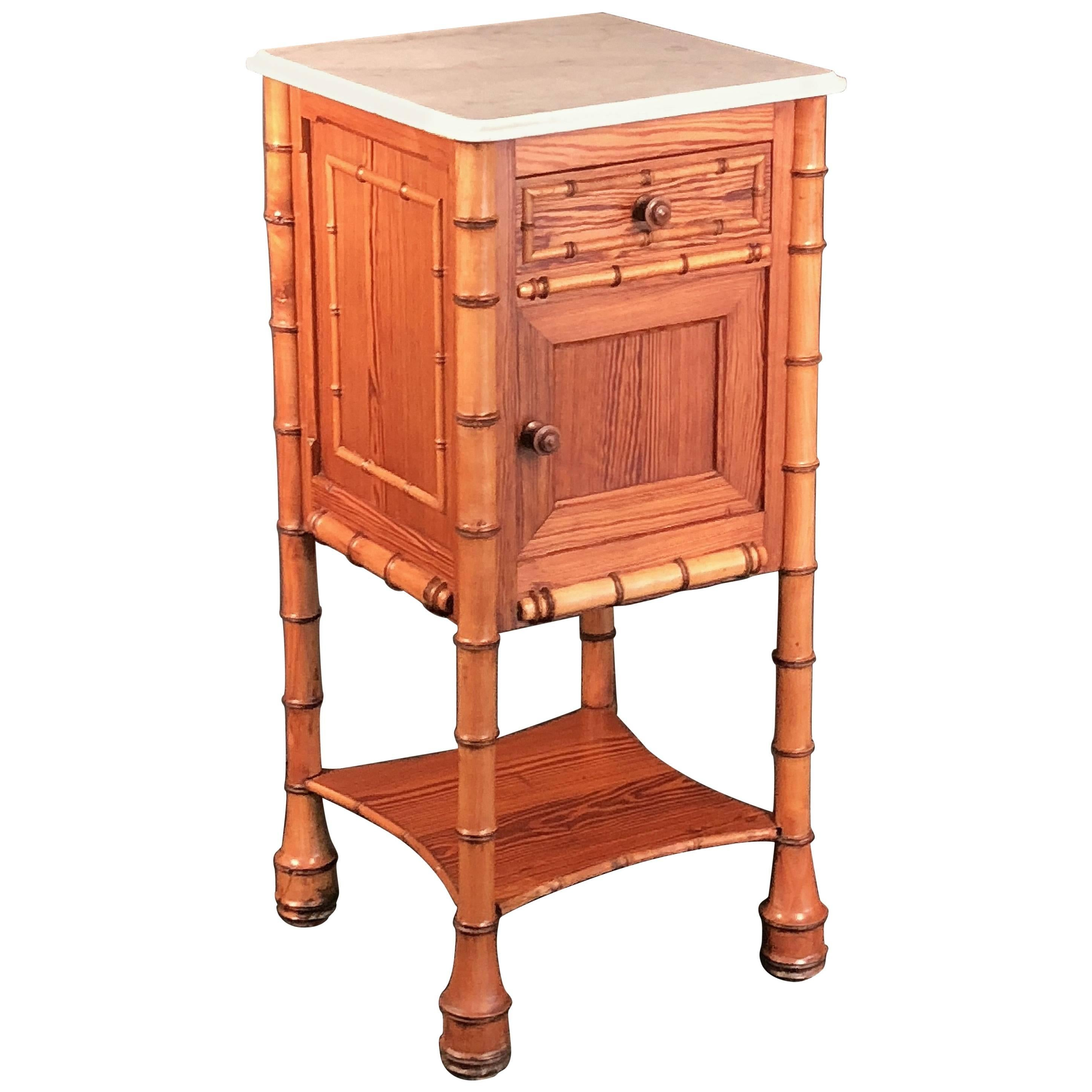 Faux Bamboo Nightstand or Bedside Table