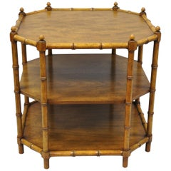 Faux Bamboo Octagon Walnut Chinese Chippendale Occasional Table Attr. Baker
